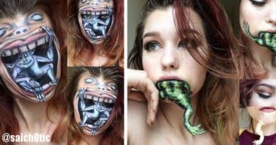14 Foto di illusioni ottiche create da una truccatrice che sembrano estremamente realistiche